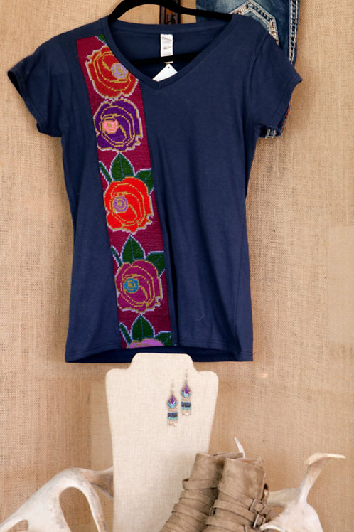 Navy Blue T Shirt with Embroidered Floral Side Banner