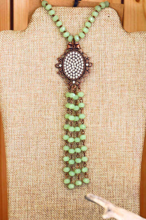 Sage Green Beaded Tassel Necklace