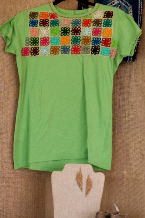 Apple Green T Shirt with Embroidered Yoke