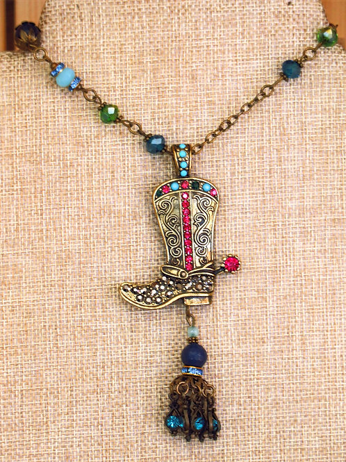Rhinetson Cowboy Boot Necklace