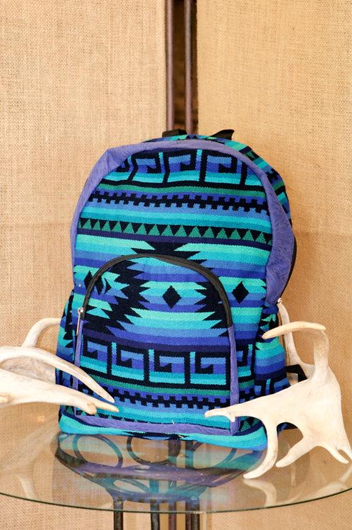 Blue Navajo Print Backpack