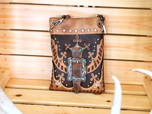 Dark Brown and Tan Purse with Buckle