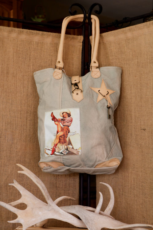 Red Vintage Cowgirl Canvas Bag