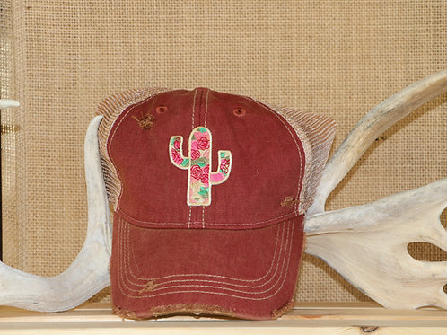 Red Faded Floral Cactus Baseball Hat