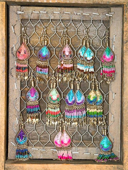 Teardrop Woven Dreamcatcher Earrings