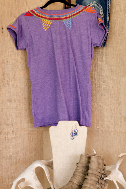 Heathered Purple T Shirt with Collar and Sleeve Embroidery