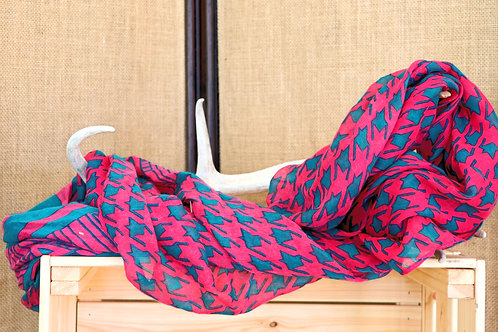Pink and Green Houndstooth Infinity Scarf
