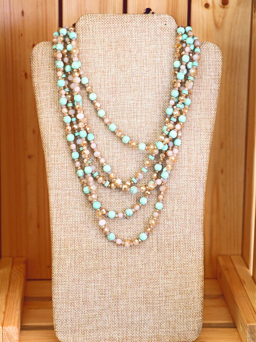 Light Turquoise and Pink Beaded Necklace