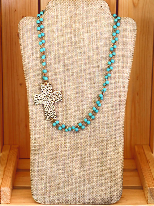 Turquoise And Gold Cross Necklace