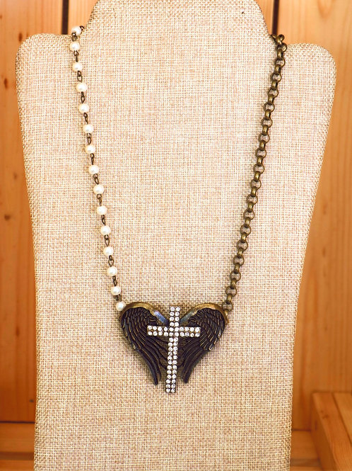 Pearl And Bronce Necklace with Wings and Cross