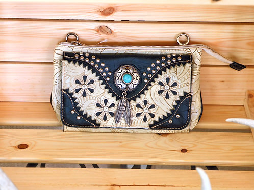 White Embossed Leather Purse with Black and Turquoise