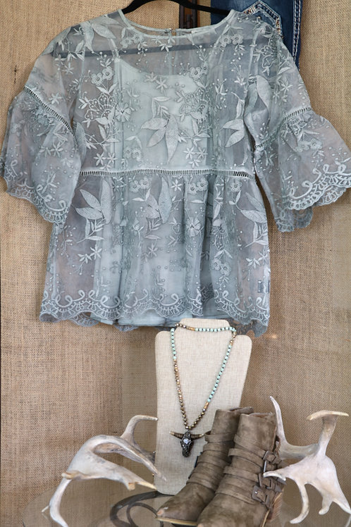 Sage Green Lace Bell Sleeve Top