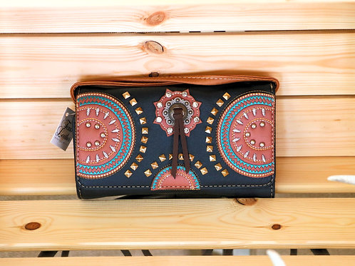 Black/Brown Leather Wallet or Purse with Turquoise Trim
