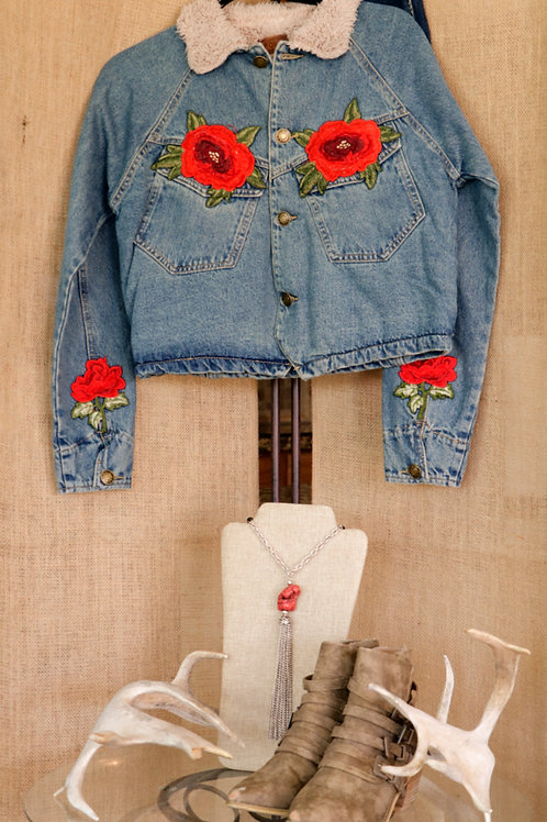 Levi Jacket with Rose Appliques and SherlingCollar