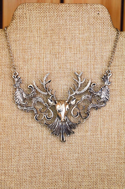Silver Stag Head Necklace