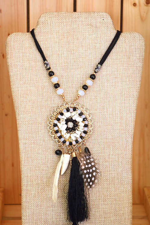 Black, White, and Gold Dreamcatcher necklace