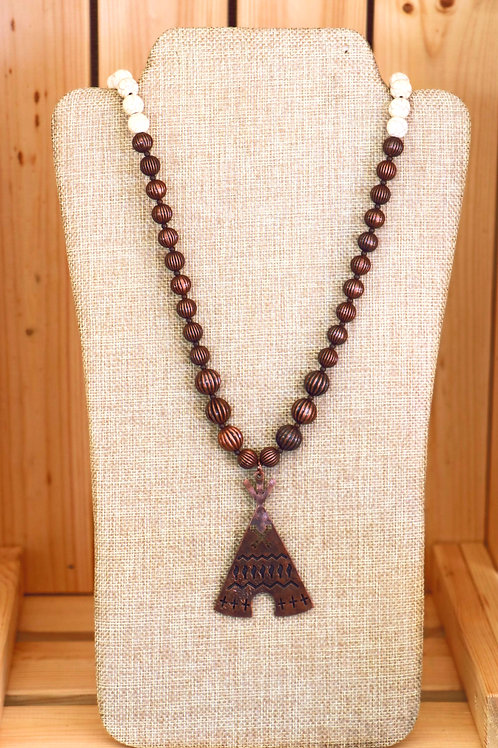 Ivory an Bronze TeePee Necklace