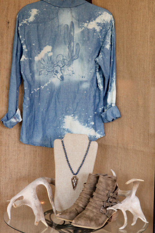 Skull and Cactus Bleached DenimButton Down