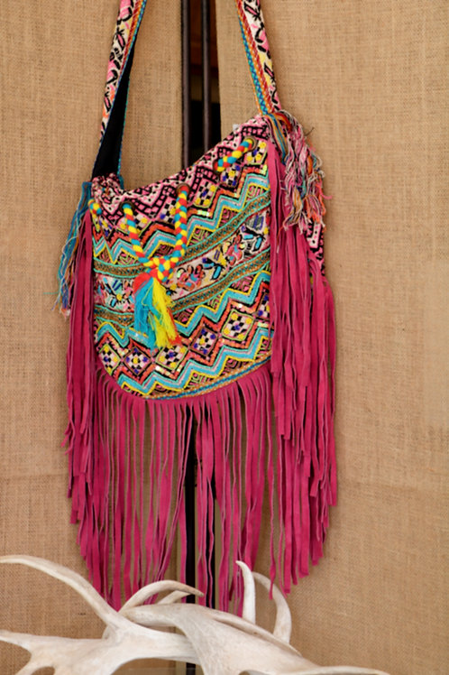 Pink Boho Bag with Sequins and Fringe