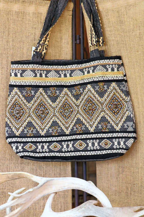 Black and White Beaded Aztec Bag