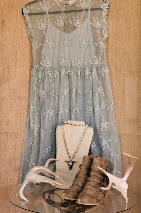 Sage Green Lace Mock Neck Dress