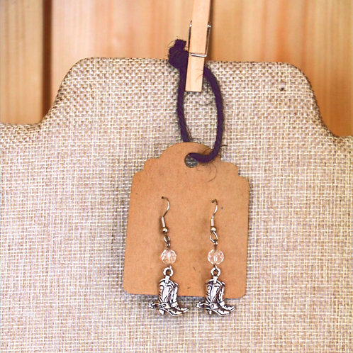 Cowboy Boot Earrings with Crystal