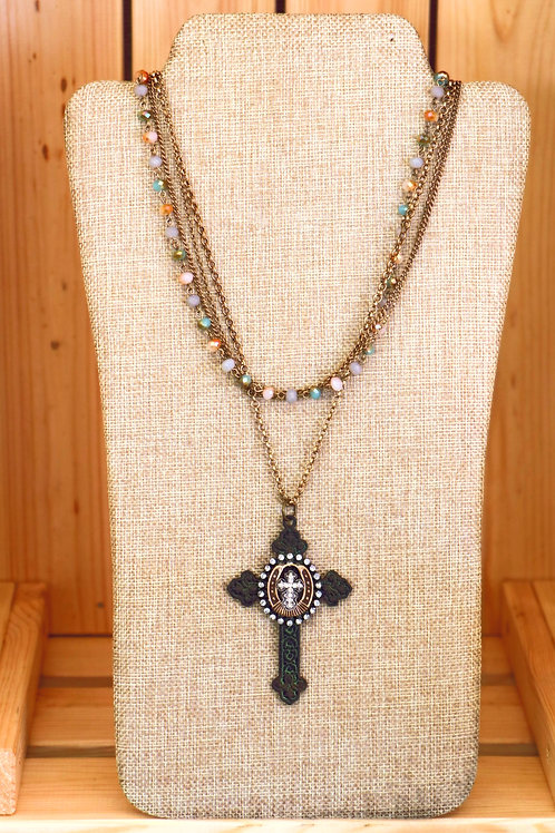 VintageRhinestone Cross Necklace