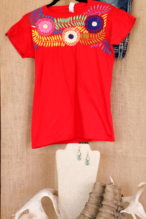 Red T Shirt with Floral Embroidery