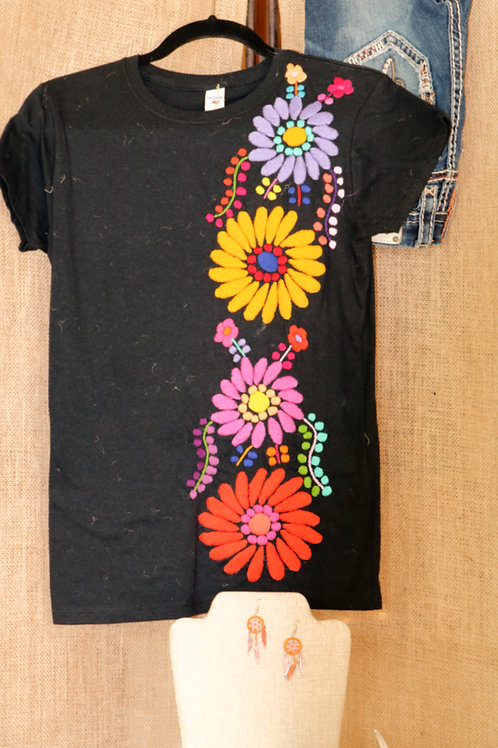 Black Embroidered Floral T Shirt