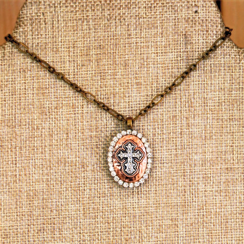 Bronze Rhinestone Cross Necklace