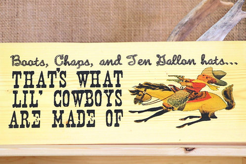 Little Cowboys Hanging Placard