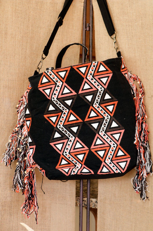Black, Brown, Tangerine, and Orange Shoulder Bag