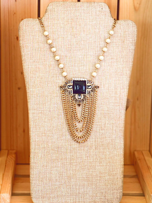 Pearl, Gold, an Black Medallion Necklace