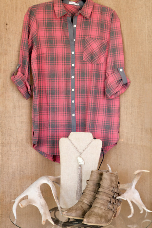 Pink and Grey Flannel Button Down