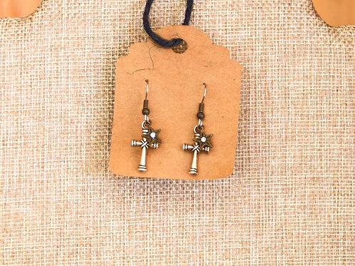 Delicate Silver Cross Earrings