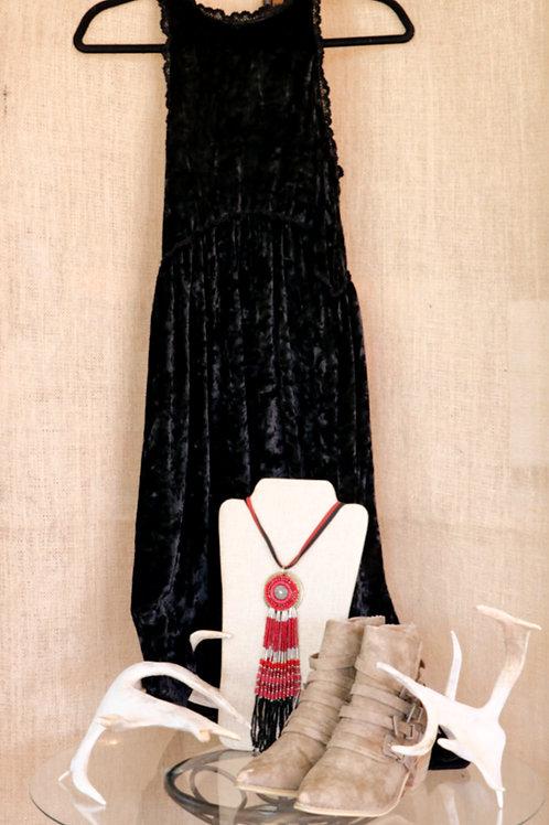 Black Velvet Racer Neck Dress