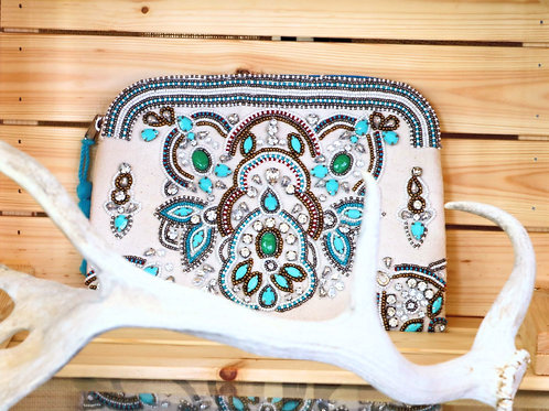 White and Blue Canvas Beaded Clutch