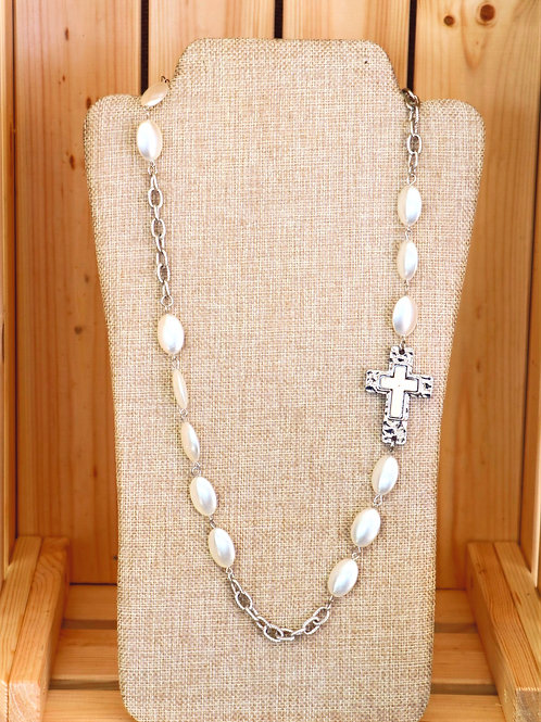 Silver and White Cross Necklace