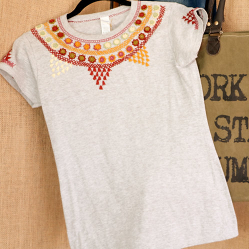Grey T Shirt with Embroidered Collar