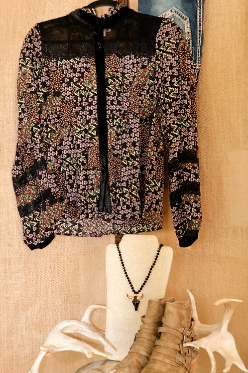Black Floral Top with Lace and Velvet Yoke