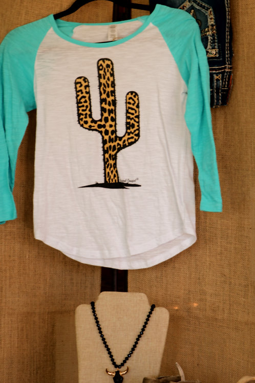 Turquoise Baseball Shirt with Leopard Cactus