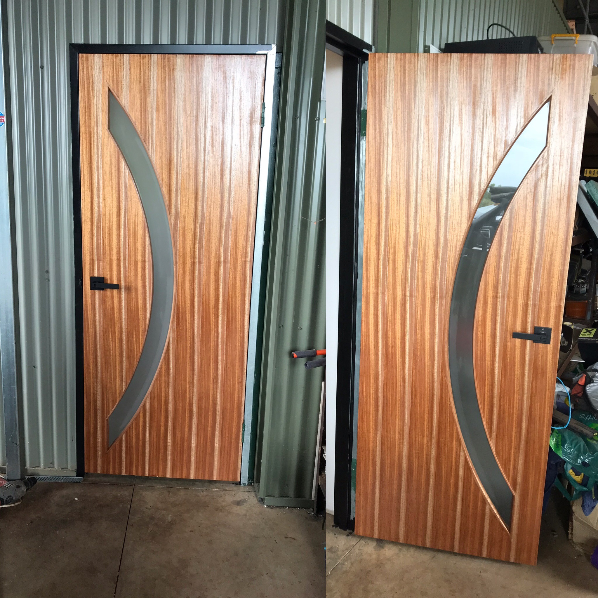 new timber door varnished