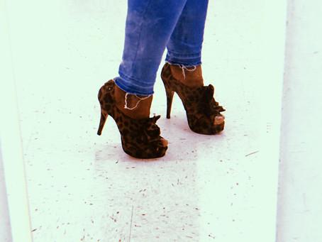 in my heels.