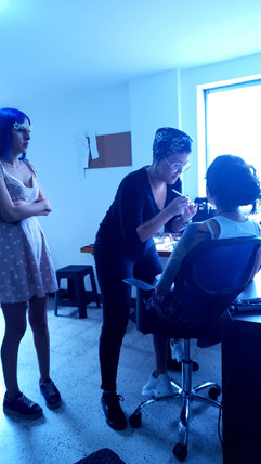 More make up getting ready for the Angels photo Shoot