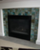 Beach Glass Tile Fireplace Surround