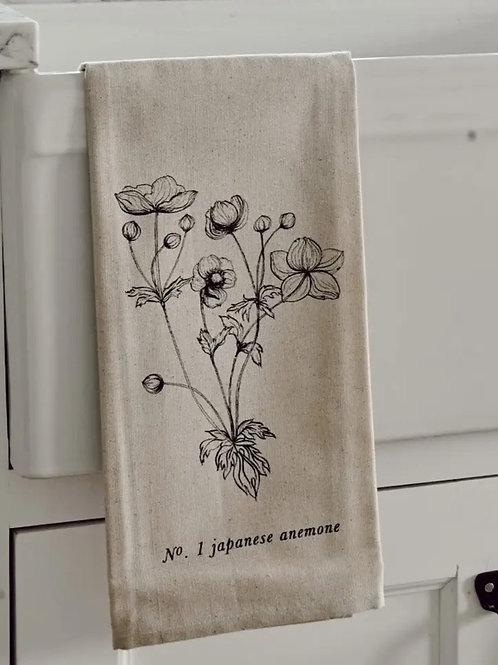 Botanical Tea Towel - Japanese Anemone
