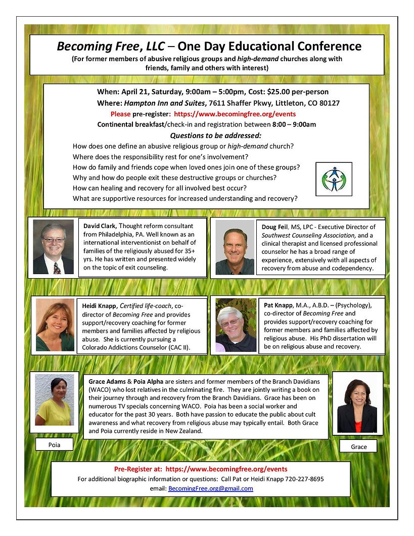 Educational Conference for religious or spiritual abuse and recovery