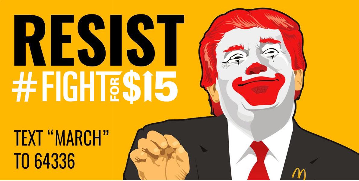 Fight for $15 Donald McTrump illustration