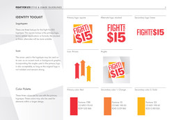 Fight for $15 Style Guide page