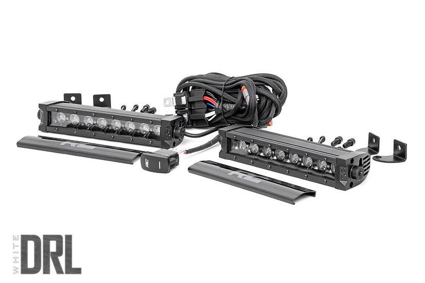 8-inch Cree LED Light Bar - (Single Row, Pair | Black Series w/ Cool White DRL)